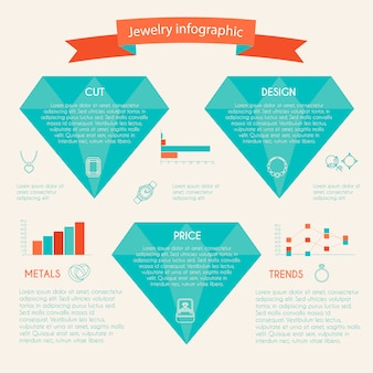 Sieraden infographic met diamanten grafieken en juwelen pictogrammen instellen
