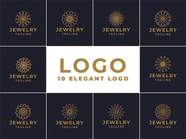 Sieraden logo ontwerp, embleem voor luxe producten, hotels, boetieks, sieraden, oosterse cosmetica, restaurants, winkels en winkels