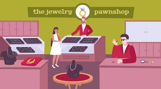 Sieraden pandjeshuis interieur vlakke samenstelling met dame klant kiezen ketting pandjesbaas prijzen edelstenen ringen