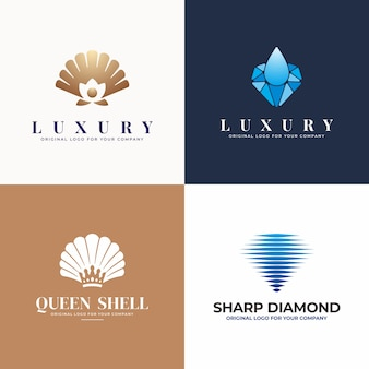 Sieraden, parel, schelp, diamant logo design collectie.
