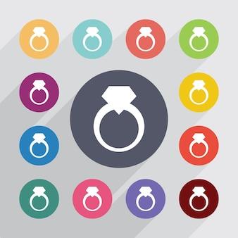 Sieraden ring, plat pictogrammen instellen. ronde kleurrijke knopen. vector