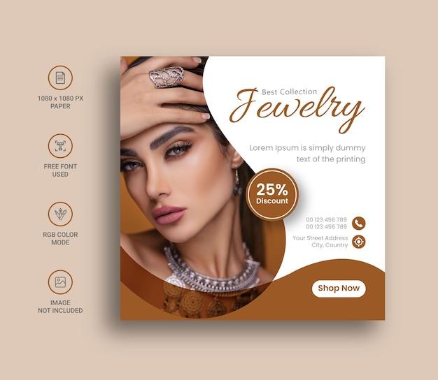 Sieraden social media instagram post banner of vierkant flyer design