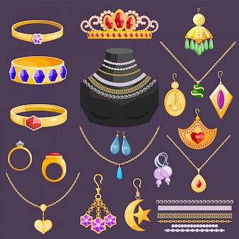 Sieraden vector sieraden gouden armband ketting oorbellen en zilveren ringen met diamanten juweel accessoires