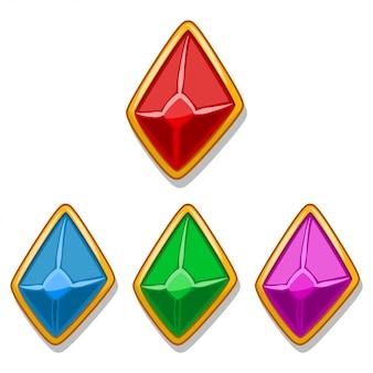 Sieradenstenen in een gouden lijst van rode, blauwe, groene en paarse kleur in de vorm van een diamant. elementen voor mobiel spel en web