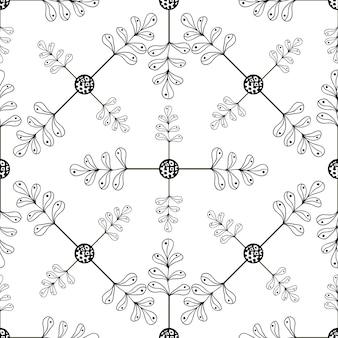 Sierhand getrokken bladerenachtergrond. naadloze patroon met bladeren voor uw ontwerp-wallpapers, opvulpatronen, webpagina-achtergronden, oppervlakte texturen