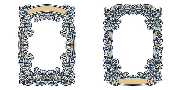 Sierlijk frame, retro sierframe, vintage ornamenten en sierlijke rand.