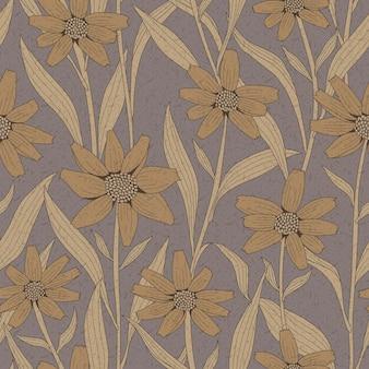 Sierlijk vintage naadloos bloemenpatroon op bruine achtergrond