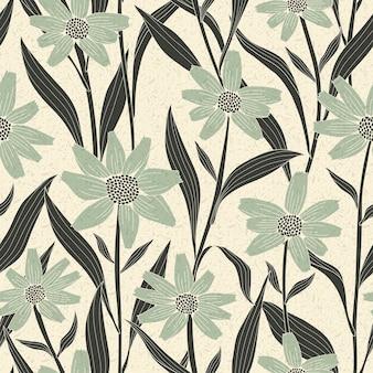 Sierlijk vintage naadloos bloemenpatroon over beige achtergrond