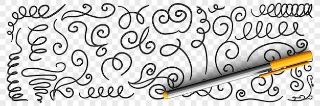 Sierlijke bloemrijke krabbels lijnen doodle set illustratie