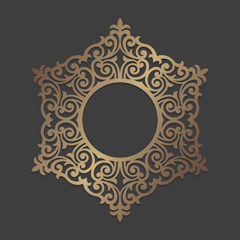 Sierlijke cirkelframe. mandala rond ornamentpatroon. cirkelvormig silhouetpatroon voor lasersnijden of stansmachines. oosterse houten sticker sjabloon.
