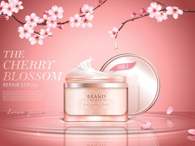 Sierlijke cosmetische advertentie met kersenbloesem, crèmekleurige fles op het wateroppervlak, sakuratakken met gedruppeld water in illustratie