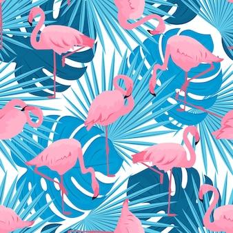 Sierlijke flamingo's en monstera en palmbladeren. tropische zomer naadloze patroon.