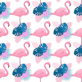 Sierlijke flamingo's, monstera, varens en palmbladeren. tropische zomer naadloze patroon.