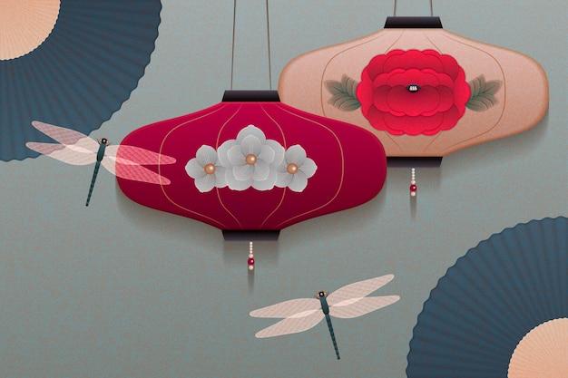 Sierlijke hangende lantaarn en papier ventilator achtergrond