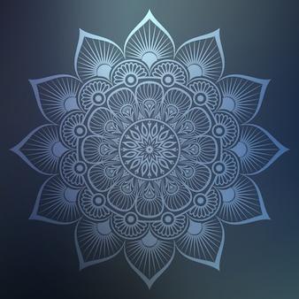 Siermandala met zilveren kleur arabesk bloemen islamitische oost-stijl