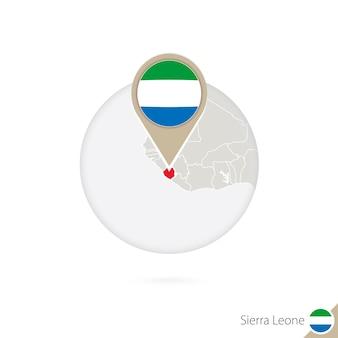 Sierra leone kaart en vlag in cirkel. kaart van sierra leone, sierra leone vlag pin. kaart van sierra leone in de stijl van de wereld. vectorillustratie.