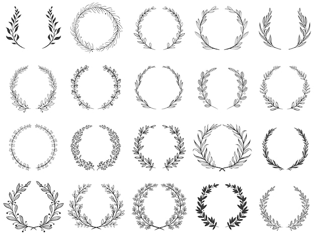 Siertak krimpt. laurierblaadjes krans, olijftakken en ronde bloemen ornament frames set.