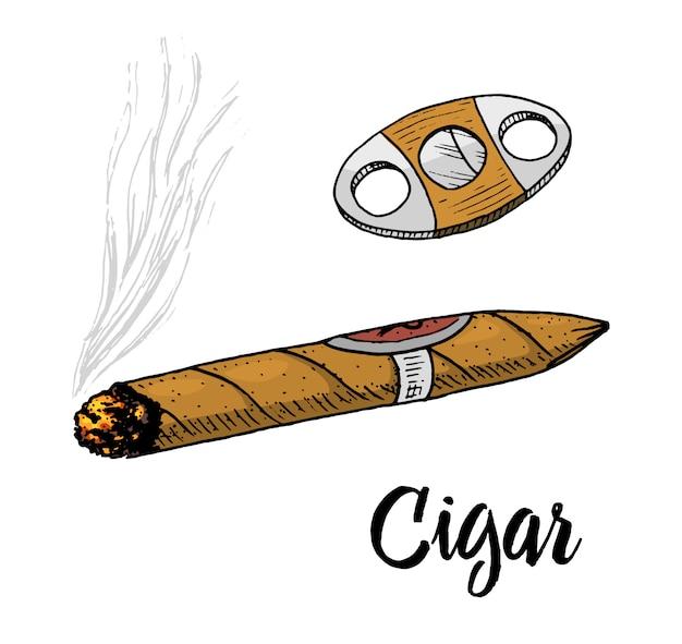 Sigaar of rook, herenembleem. slechte gewoonte. klassieke sigaret. gegraveerde hand getrokken in oude vintage schets.