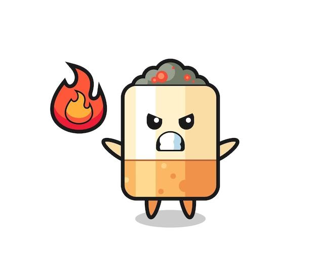 Sigaret karakter cartoon met boos gebaar, schattig ontwerp