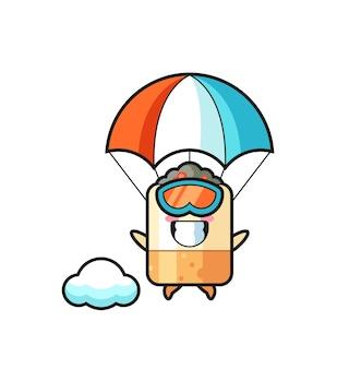 Sigaret mascotte cartoon is aan het parachutespringen met een gelukkig gebaar, schattig ontwerp
