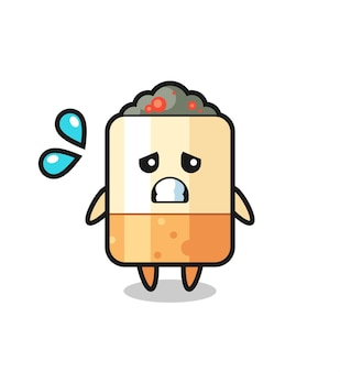 Sigaret mascotte karakter met bang gebaar, schattig design
