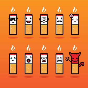 Sigaret mascotte vector ontwerpset