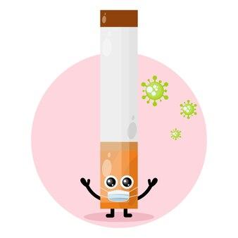 Sigarettenmasker virus schattig karakter logo