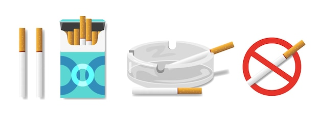 Sigarettenset: in een pakje sigaretten, in een asbak. teken