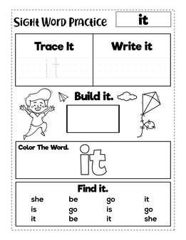 Sight word-oefenboek