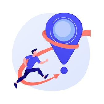 Sightseeingtour, bezoek aan bezienswaardigheden. mijlpaalverwezenlijking, vooruitgaan, roadmap vooruitgang decoratief ontwerpelement. gps-navigatie, locatiepin.