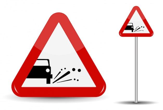 Sign waarschuwing emissie van grind, stenen. in red triangle staat een schematische machine, van waaruit objecten vliegen.