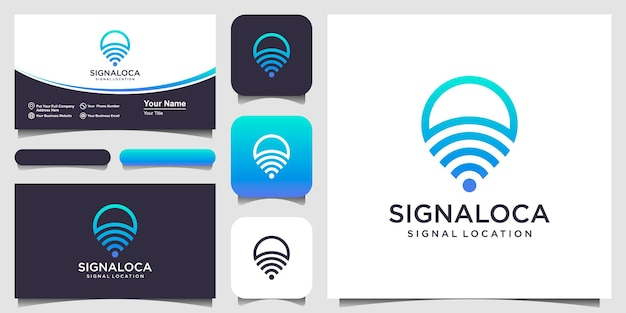Signaallocatie pin-kaarten combineren met golflogo en visitekaartjeontwerp