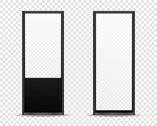 Signage lichtbak digitaal. signage set voor buiten. geïsoleerd. sjabloonontwerp. realistische afbeelding.