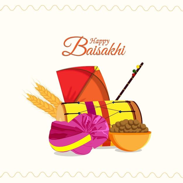 Sikh festival happy vaisakhi wenskaart en achtergrond met creatieve platte elementen