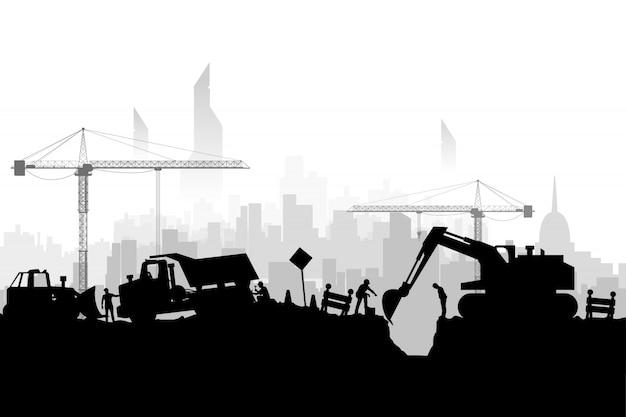 Silhoette stad van bouwvoertuigen