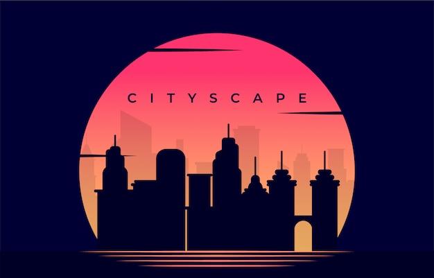 Silhouatte stadsgezicht