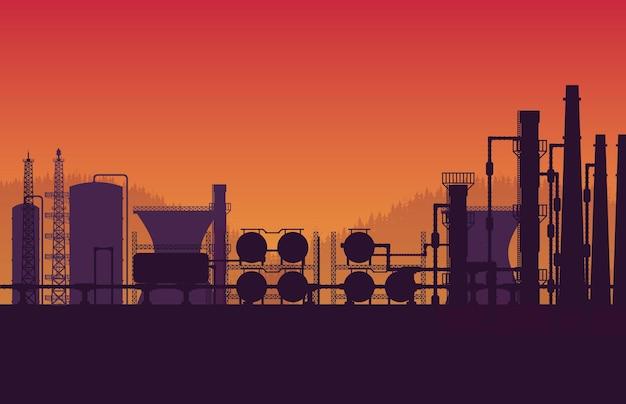 Silhouet aardgaspijpleiding industriële zone op oranje achtergrond met kleurovergang