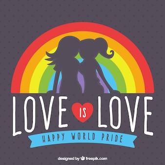 Silhouet achtergrond van meisjes met regenboog en bericht