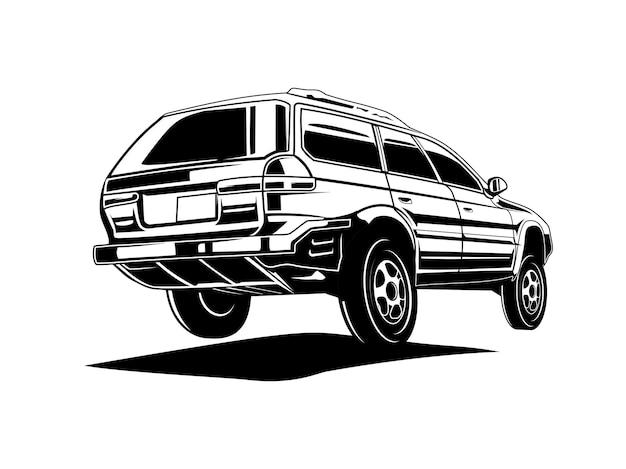 Silhouet auto of zwart-wit