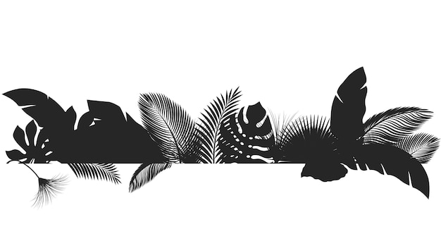 Silhouet banner tropische bladeren