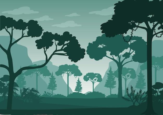 Silhouet boslandschap achtergrond