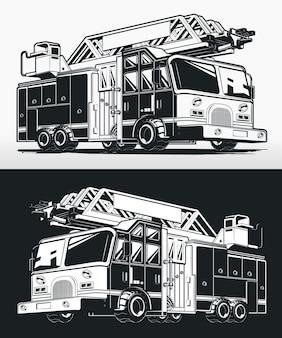 Silhouet brandweerman vrachtwagen brandweerwagen tekening