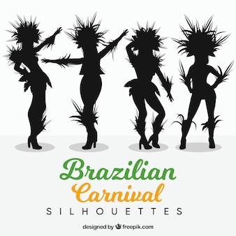 Silhouet braziliaanse carnaval danser collectie