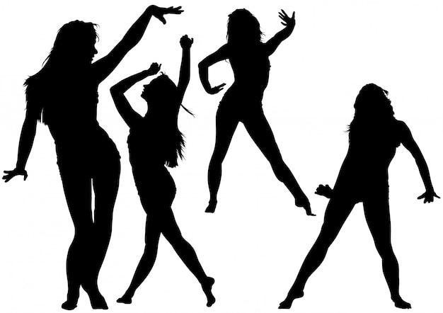 Silhouet dansende jonge vrouw