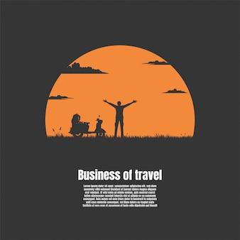 Silhouet de man van reizen