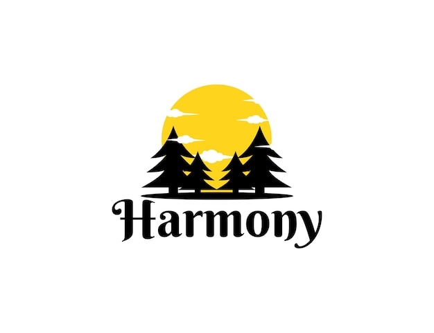 Silhouet dennenboom logo met zon ontwerpsjabloon