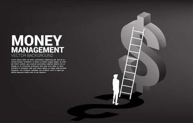 Silhouet die van zakenman zich met ladder en 3d van het dollarpictogram malplaatje bevinden als achtergrond