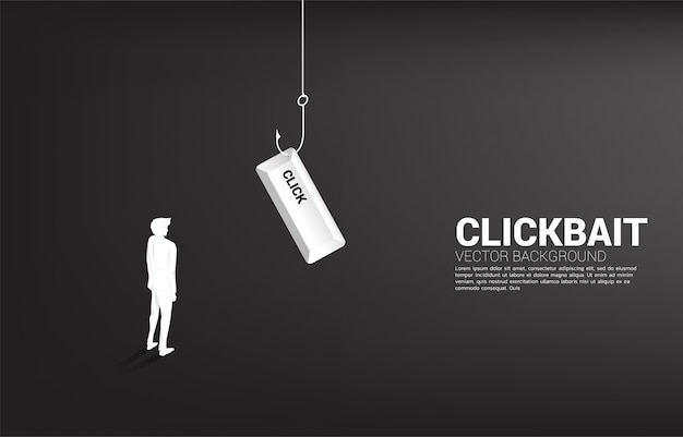 Silhouet die van zakenman zich met visserijhaak bevinden met klikknoop. concept klikaas en digitale phishing.