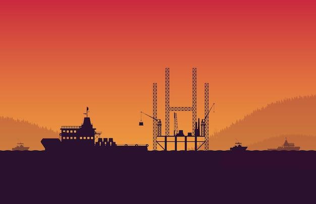 Silhouet dienst vaartuig schip met operatie petroleum platform op oranje achtergrond met kleurovergang