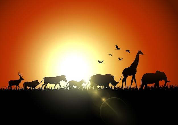 Silhouet dieren op savannes